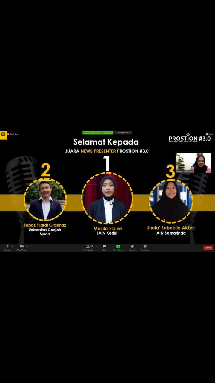 Mahasiswi IAIN Kediri Juarai Ajang News Presenter Tingkat Nasional