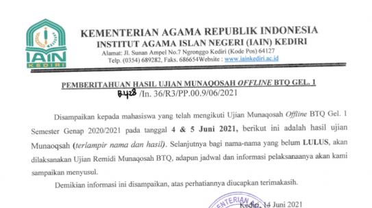 Pemberitahuan Nilai Hasil Ujian Munaqosah BTQ Offline Gel. 1 Semester Genap 2020/2021 IAIN Kedir